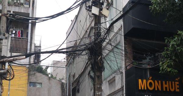 TPHCM: Đáng lo ngại hệ thống dây điện chằng chịt