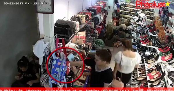 """""""Nữ quái"""" trộm điện thoại nhanh như chớp trong cửa hàng"""