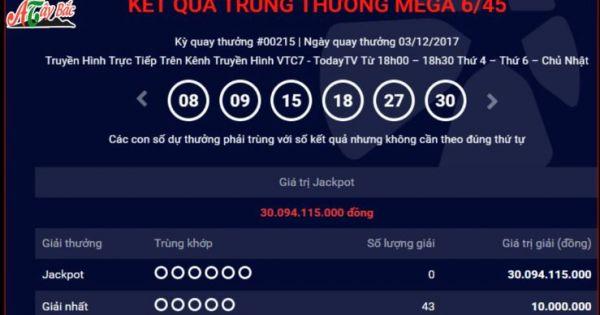 KQXS MEGA 6 45 vietlott 3/12/2017