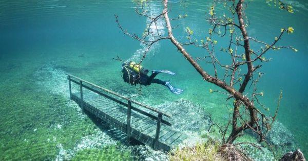 Kỳ ảo công viên chìm dưới nước cấm người lui tới