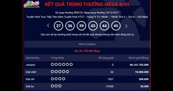 Mega 6 45 vietlott 10/12/2017 – KQXS MEGA 645