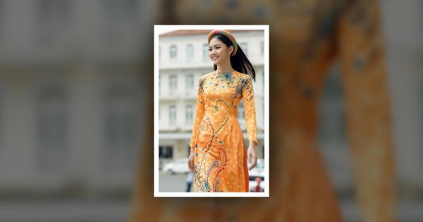 Á hậu Thanh Tú xuống phố với áo dài họa tiết mùa xuân