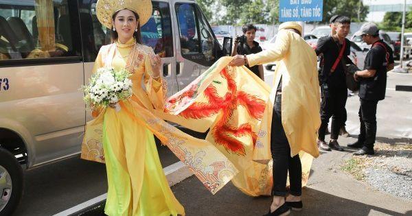 Lâm Khánh Chi diện áo dài long phụng, cùng ông xã làm lễ vái gia tiên