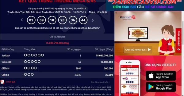 Kết quả trúng thưởng xổ số tự chọn mega 6/45 kỳ 238 ngày 26/01-2018 jackpot 75 tỷ