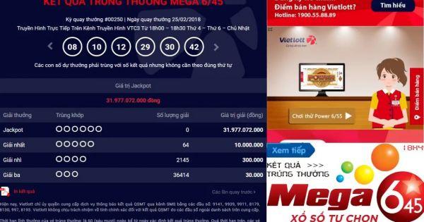 Mega 6 45 vietlott 26/2/2018– KQXS MEGA 645
