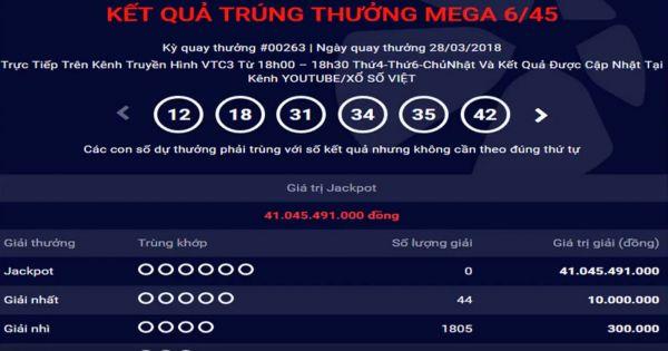 Mega 6 45 vietlott 28/3/2018– KQXS MEGA 645