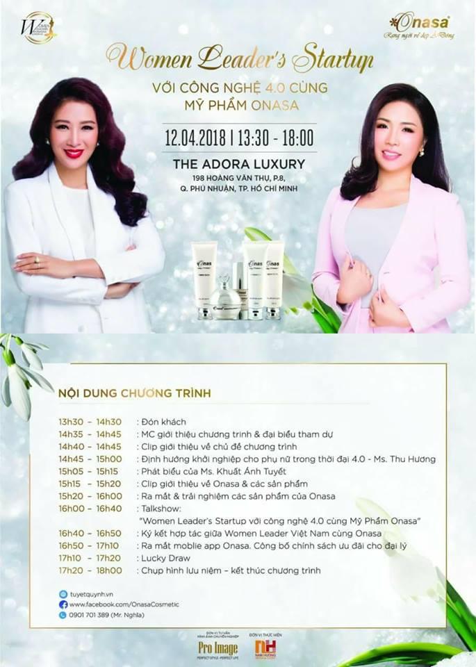 Women Leader's Startup cùng công nghệ số và Onasa Cosmetic sẽ diễn ra vào ngày 12/4