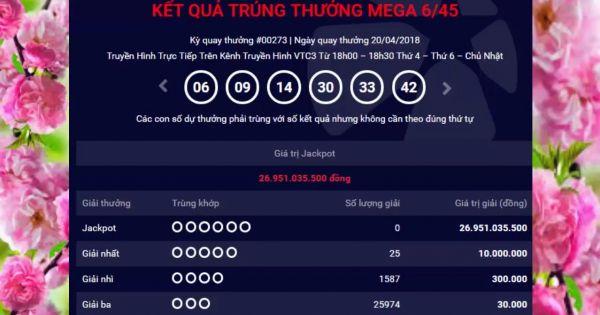 Mega 6 45 vietlott 20/4/2018– KQXS MEGA 645