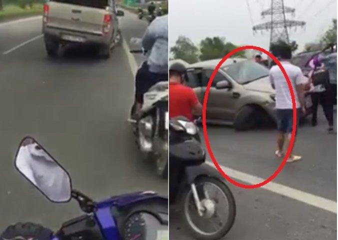 Xe bán tải chỉ còn 3 bánh cố bỏ chạy 60 km sau khi gây tai nạn