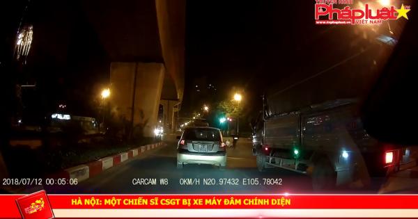 Hà Nội: Một chiến sĩ CSGT bị xe máy đâm chính diện