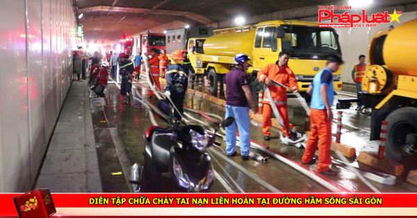 Diễn tập chữa cháy tai nạn liên hoàn tại đường hầm sông Sài Gòn