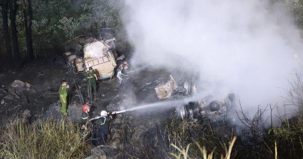 Tài xế tử vong khi xe bồn chở xăng phát nổ tại đèo Hải Vân