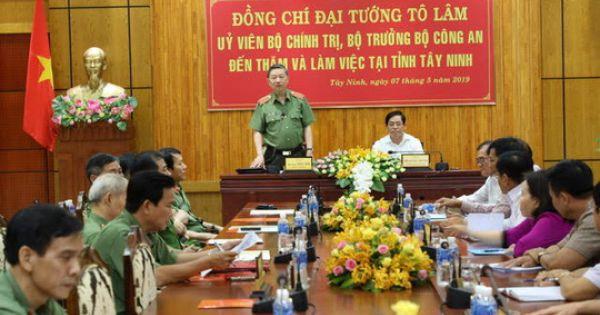 Bộ trưởng Tô Lâm: Yêu cầu Tây Ninh tập trung đấu tranh với buôn lậu ma túy