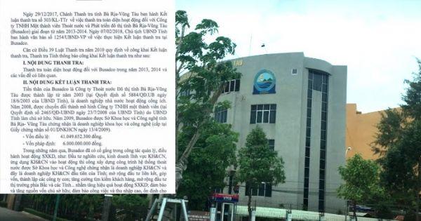 Thanh tra tỉnh Bà Rịa - Vũng Tàu phát hiện hàng loạt sai phạm tại Công ty Busadco và đề nghị xử lý nhiều lãnh đạo