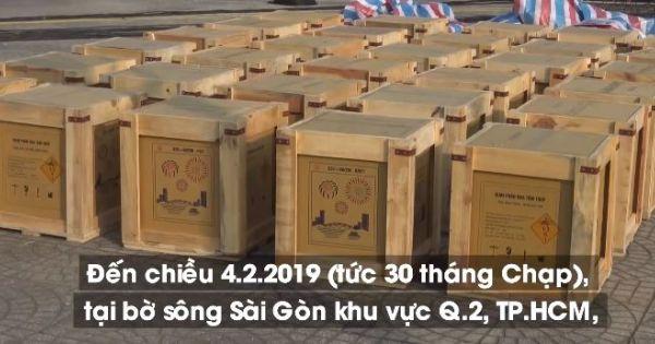 Trận địa pháo hoa bên bờ sông Sài Gòn trước giao thừa Tết Kỷ Hợi 2019