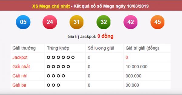 Mega 6 45 vietlott 10/3/209– KQXS MEGA 645